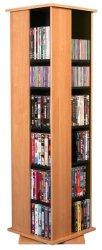 Venture Horizon Home Office Malls Stores Revolving Media Tall CD DVD Storage Rack Tower Oak