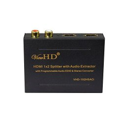 ViewHD HDMI 1×2 Splitter with Integrated Audio Extractor with RCA L/R Stereo and Optical Audio Outputs | VHD-1X2HSACi