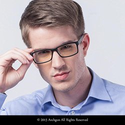 Archgon GL-B107-GR Advanced Computer Eyewear Anti Blue-Light Glasses UV Protection Full Rim with Crystal Lens-Ultem Frame