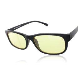 Duco Full Rim Ergonomic Advanced Computer Gaming Glasses with Amber Lens Tint 8016 (Matte Black)