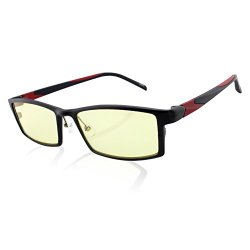 DUCO Optiks GX088 Full Rim Advanced Computer Video Gaming Glasses with Amber Lens Tint AL-MG Alloy Frame TR90 Black