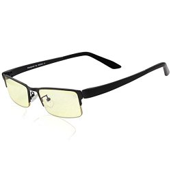 DUCO Optiks GX090 Matte Black Computer Glasses Video Gaming Glasses Eyewear Amber Lens TR90
