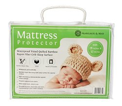 Softest Crib Mattress Protector Pad From Bamboo Rayon Fiber by Margaux & May – Waterproof Fitted Quilted Mattress Protector Pad for Your Crib