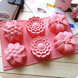 Allforhome 6 Cavities Big Flower Silicone Cake Baking Mold Cake Pan Muffin Cups Handmade Soap Moulds Biscuit Chocolate Ice Cube Tray DIY Mold (1, Random)