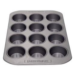 Farberware Nonstick Bakeware 12-Cup Muffin Pan, Gray