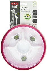 OXO Tot Divided Plate with Removable Training Ring and Dipping Center-Pink
