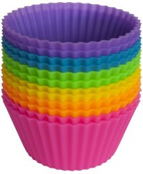 Pantry Elements Silicone Baking Cups / Cupcake Liners – 12 Vibrant Muffin Molds in Storage Container