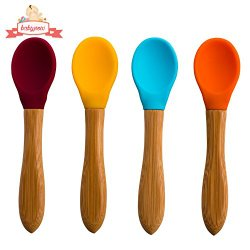 Silicone Spoons – Baby Infant Feeding Spoon- No BPA – 4 Colour Set – Soft Curved Tip – Toddler Safe – Perfect Babyshower Gift