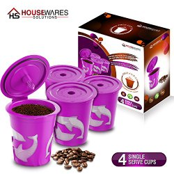 FROZ-CUP 2.0 – 4 Refillable/Reusable K-Cups for Keurig 2.0 – K200, K300, K400, K500 Series and all 1.0 Brewers (4-Pack)