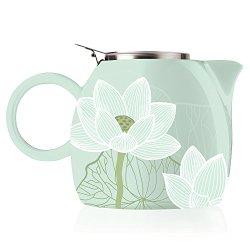 Tea Forte PUGG 24oz Ceramic Teapot with Tea Infuser, Loose Leaf Tea Steeping For Two, Lotus