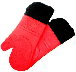 Homwe Professional Silicone Oven Mitt – 1 Pair – Extra Long Oven Mitts with Quilted Liner for Extra Protection – Red