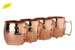 Moscow Mule 100 % Solid Pure Copper Unlined Mug /Cup (16-Ounce/Set of 4, Hammered)