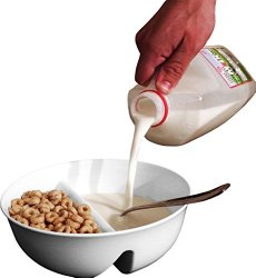 NEW Just Crunch Anti-Soggy Bowl! For Cereal/Milk, Veggies/Dip, Fries/Ketchup and More! – White