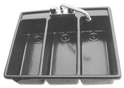 Moli International Three Compartment Large Bowl Drop In Sanitizing Sink