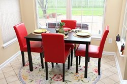 5 PC Red Leather 4 Person Table and Chairs red Dining Dinette – Red Parson Chair
