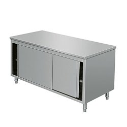 EQ Commercial Stainless Steel Work Prep Table with Cabinet & Backsplash 47 x 33h