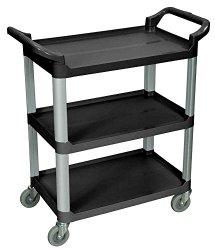 LUXOR SC12-B 3-Shelf Serving Cart, 36.75″ H x 33.5″ W x 16.75″ D, Black