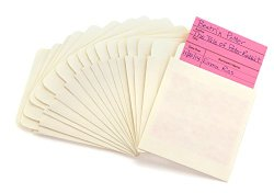 Hygloss 15430 Self-Adhesive Library Card Pockets, 3.5-Inch by 5-Inch, 40 Pages, Manila