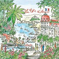 """Napkin – Luncheon Size, Paper – """"La Cote d'Azur"""" – French Riviera"""