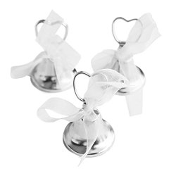 Silver Bell Place Card Holders for Table Numbers, Restaurant Menu, Weddings, Party Decoration (12 Pack) by Super Z Outlet®