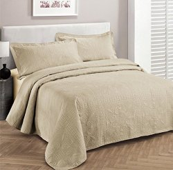 Fancy Collection 3pc Luxury Bedspread Coverlet Embossed Bed Cover Solid Beige New Over Size 118″x106″ King/california King