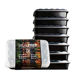 Meal Prep Containers – Stackable Plastic Microwavable Dishwasher Safe Reusable – 28 Oz – (Set of Seven)