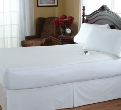 Serta Damask Stripe 233-Thread Count Low-Voltage Electric Heated Queen Mattress Pad, White