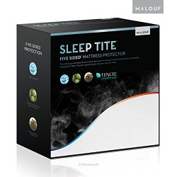 SLEEP TITE FIVE-5IDED Cooling Mattress Protector With Omniphase and Tencel – 100% Waterproof and Hypoallergenic  – 15-Year Warranty – Queen