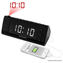 Electrohome USB Charging Alarm Clock Radio with Time Projection, Battery Backup, Auto Time Set, Dual Alarm