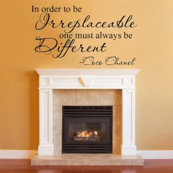 In Order to Be Irreplaceable One Must Always Be Different Coco Chanel Quote Vinyl Wall Decal (13