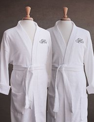 Luxor Linens Egyptian Cotton Terry Robes with Male Couple's Embroidery – Perfect Gay Wedding Gifts! (His/His) with Gift Packaging!