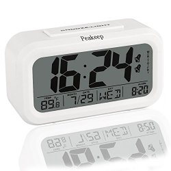 Peakeep Digital Alarm Clock Battery Operated with Large Display, Dual Alarm, Snooze – Travel Alarm Clock and Home Alarm Clock – Optional Weekday Alarm and Smart Night Light (White)