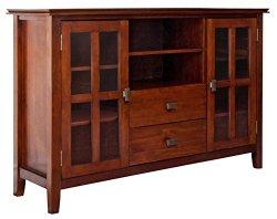Simpli Home Artisan TV Media Stand for TVs up to 60″, Medium Auburn Brown