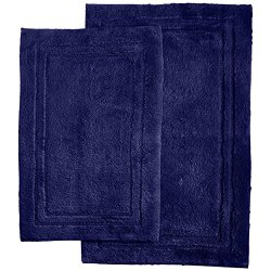 Superior 2-Piece Cotton Non -Skid Bath Rug Set, Navy Blue