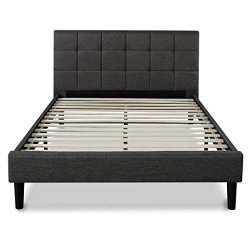 Upholstered Square Stitched Platform Bed with Wooden Slats, Queen