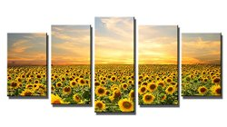 Wieco Art Canvas Print the Sunflowers 5 Panels Modern Canvas Wall Art for Home and Office Decoration