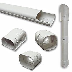 Hide-A-Line 3″ 7.5 Ft Mini Split Air Conditioner & Heat Pump Line Set Cover Kit Decorative Tubing Cover