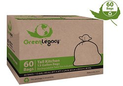 Green Legacy Tall Kitchen Trash Bags – 60 Bags/Box ON SALE! (17 Cents/Bag)