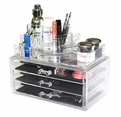 Sodynee® Acrylic Makeup organizer Cosmetic organizer Jewelry and Cosmetic Storage Display Boxes Two Pieces Set(3 Drawer makeup storage + Lipstick Liner Brush Holder)