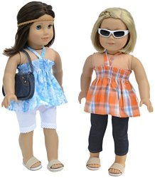 7 Pc. Casual Outfit Set Fits 18 Inch Doll Clothes Includes – 2 Pants, 2 Tops, Headband, and Pocketbook