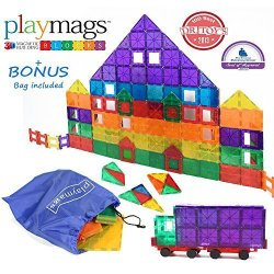 Award Winning Playmags Clear Colors Magnetic Tiles Deluxe Building Set 100 Piece Set with Car + Includes Free Bonus Bag – Great Gift for Kids