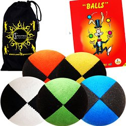 5x Pro Thud Juggling Balls – Deluxe (SUEDE) Professional Juggling Ball Set of 5 with Mister Babache Ball Juggling Book of tricks, and a Fabric Travel Bag! (Mix of colors)