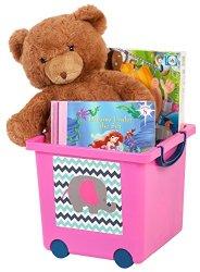 IRIS Kids Storage Basket with Lid, Pink