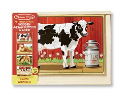 Melissa & Doug Wooden Jigsaw Puzzles in a Box – Farm