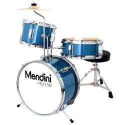 Mendini by Cecilio MJDS-1-BL 3-Piece Drum Set, Metallic Blue