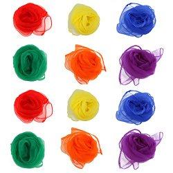 NUOLUX Rhythm Band Scarves Juggling Dance Scarves 12pcs (Assorted Color)