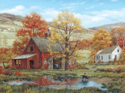 White Mountain Puzzles Friends in Autumn – 1000 Piece Jigsaw Puzzle