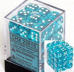 Chessex Dice d6 Sets: Teal with White Translucent – 12mm Six Sided Die (36) Block of Dice