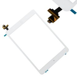 Apple iPad Mini Glass Screen Digitizer Complete Full Assembly with IC Chip, Home Button, Camera Bracket, and Adhesive PRE-Installed (White)