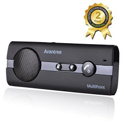 Avantree 10BP V4.0 Bluetooth Handsfree Car Kit with Music GPS Support, Noise Cancellation, Sun Visor for Smartphones Mobile Phone Android Devices